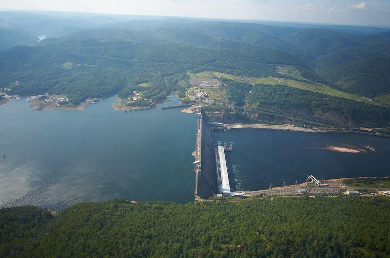 Красноярская ГЭС с высоты